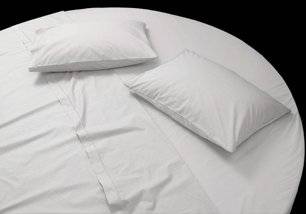 Custom size round bed cotton percale fitted sheet