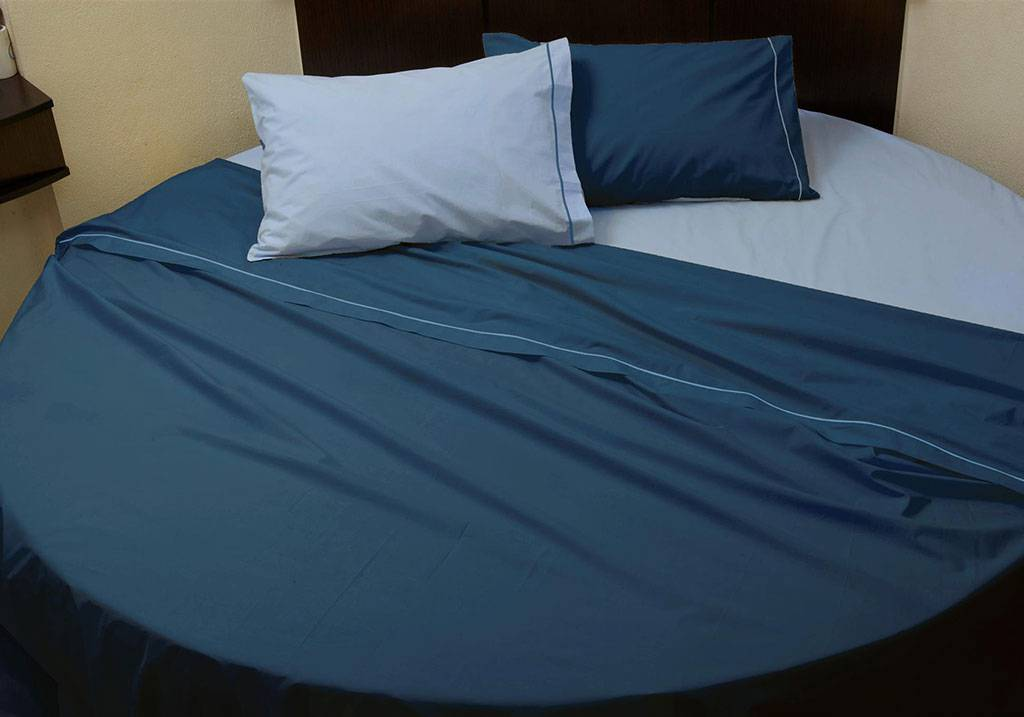 Custom size round bed cotton percale sheet set